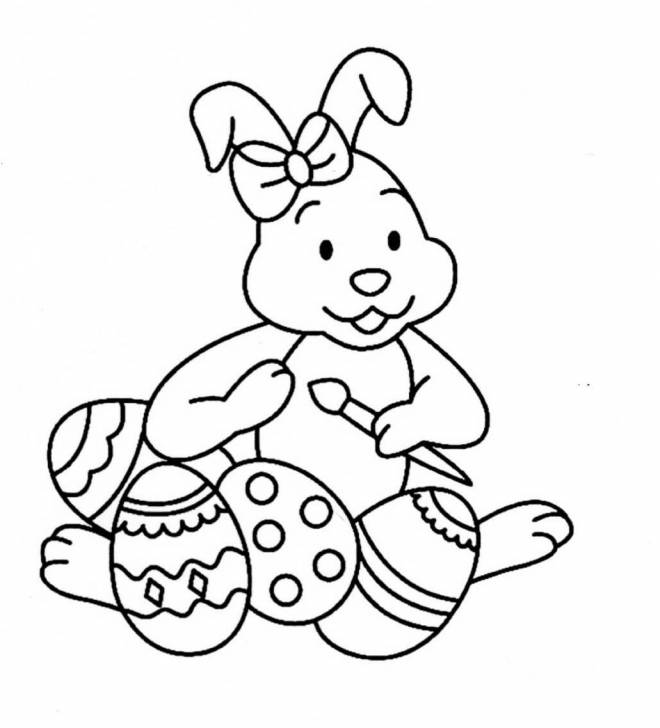 Free coloring and drawings Cute bunny decorating Easter eggs Coloring page