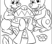 Coloring pages Dogs with Giant Easter Egg