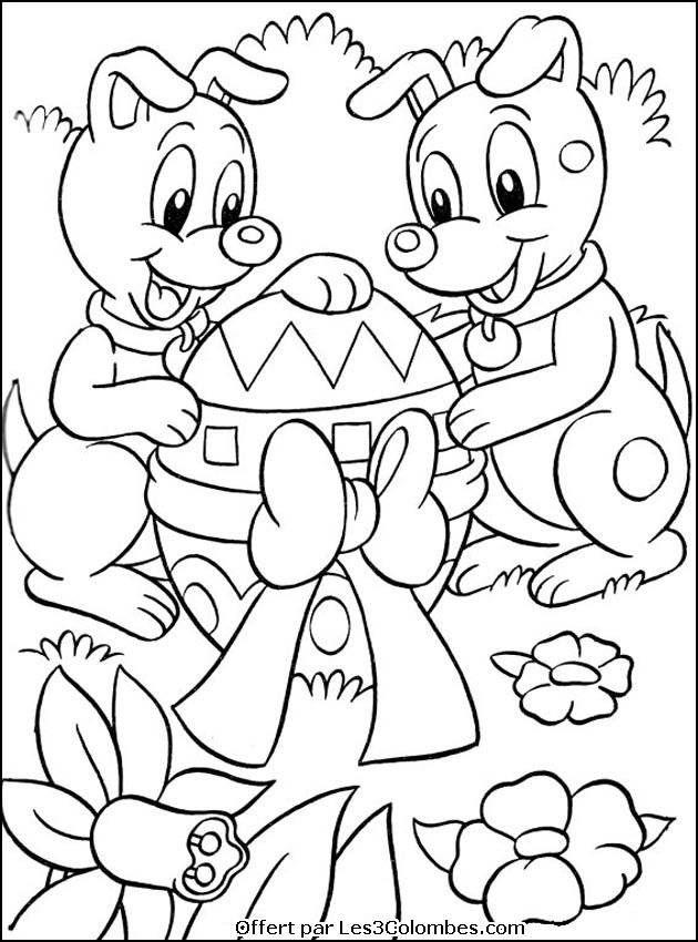 Free coloring and drawings Dogs with Giant Easter Egg Coloring page