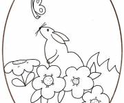 Coloring pages Drawing of mouse on Easter egg