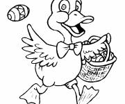 Coloring pages Duck carries the Easter egg