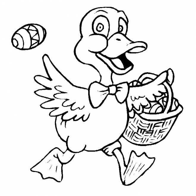 Free coloring and drawings Duck carries the Easter egg Coloring page