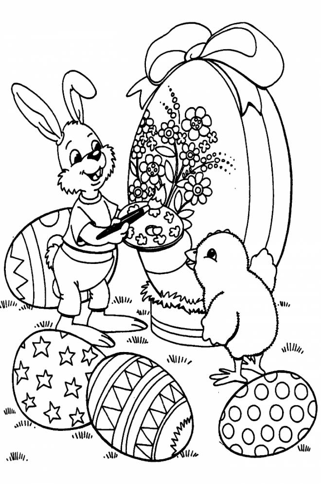 Free coloring and drawings Easter animals on computer Coloring page