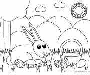 Coloring pages Easter bunny and nature