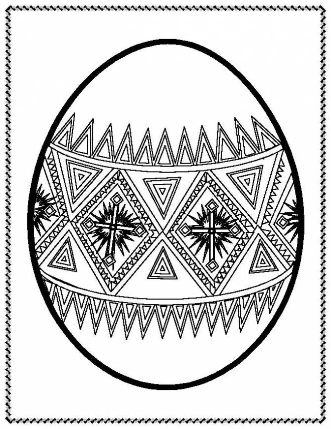 Free coloring and drawings Easter egg in cutting frame Coloring page