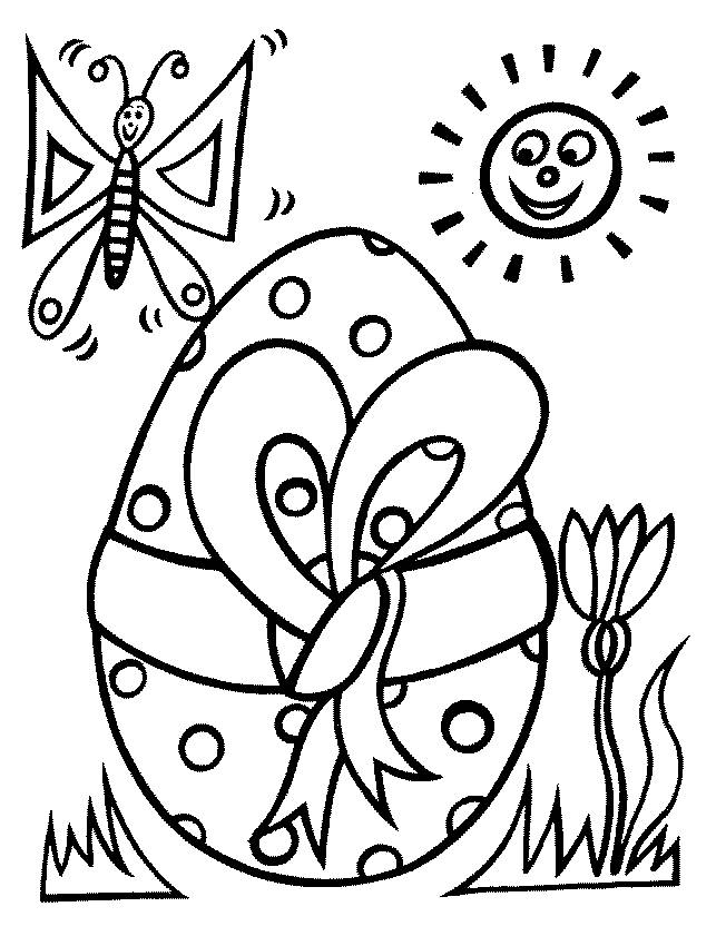Free coloring and drawings Easter egg with Butterfly Coloring page