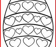 Coloring pages Easter egg with hearts