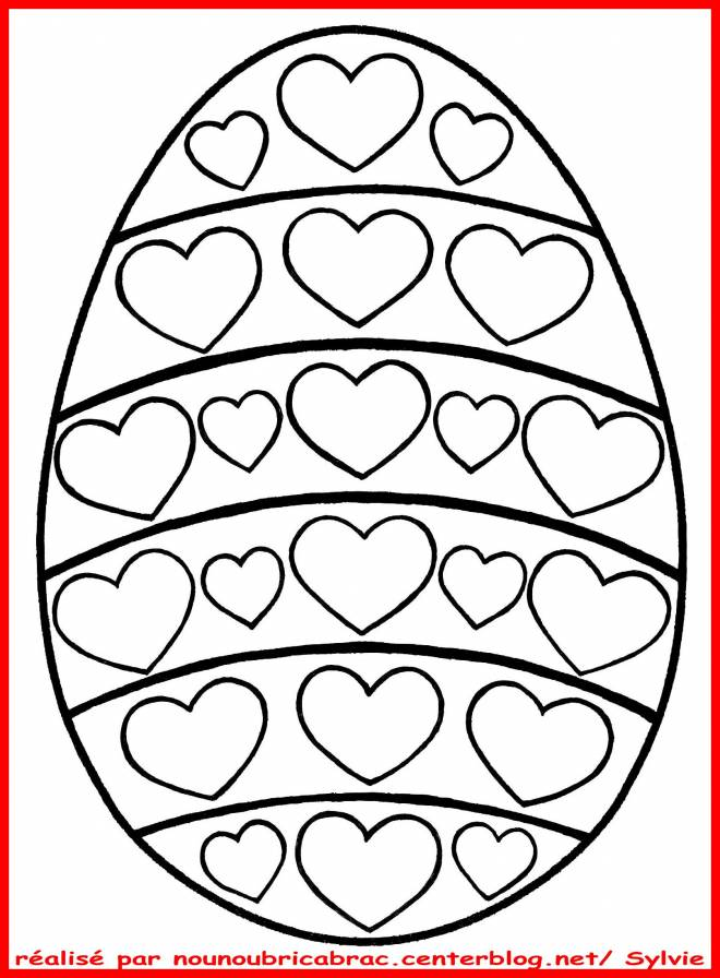 Free coloring and drawings Easter egg with hearts Coloring page