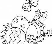 Coloring pages Easter eggs and nature