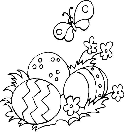 Free coloring and drawings Easter eggs and nature Coloring page