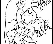 Coloring pages Easter eggs on the trees