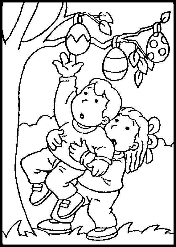 Free coloring and drawings Easter eggs on the trees Coloring page