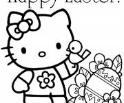 Free coloring and drawings Hello kitty Easter Coloring page