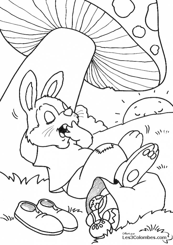 Free coloring and drawings Lazy Rabbit with Easter Eggs Coloring page