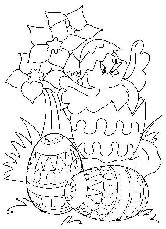 Free coloring and drawings Maternal Easter chick Coloring page