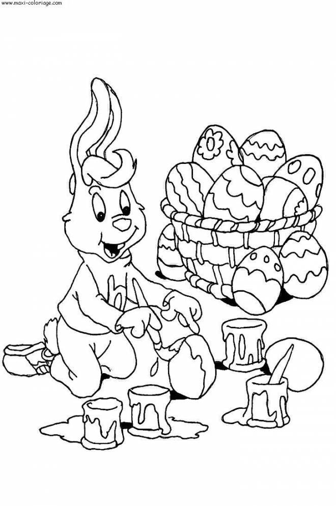 Free coloring and drawings Painted rabbit Easter egg Coloring page