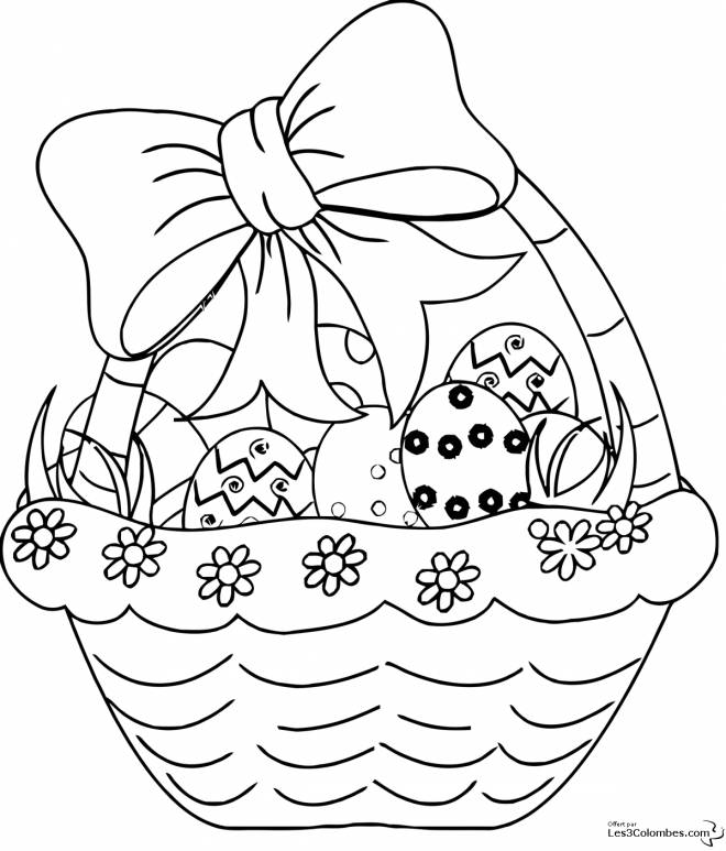 Free coloring and drawings Pretty Easter Egg Basket Coloring page