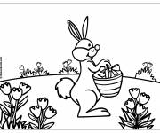 Coloring pages Rabbit brings Easter gifts