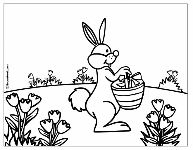Free coloring and drawings Rabbit brings Easter gifts Coloring page