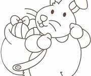 Coloring pages Rabbit carries Easter eggs on its back