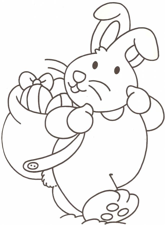 Free coloring and drawings Rabbit carries Easter eggs on its back Coloring page