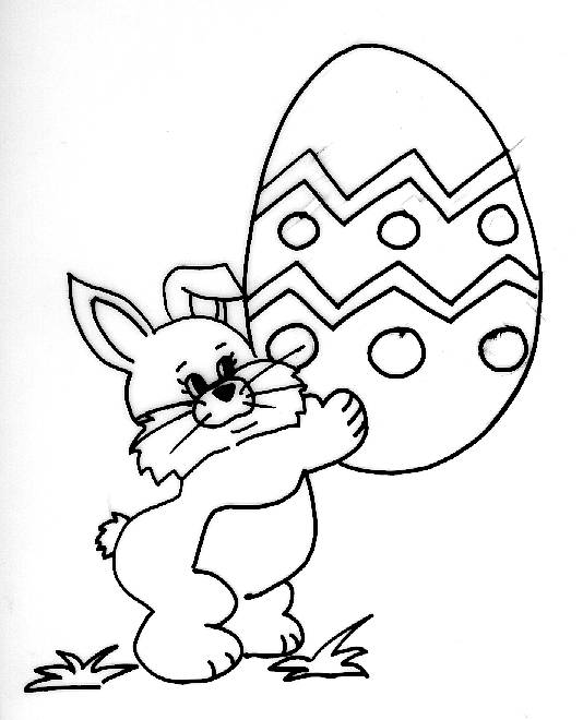 Free coloring and drawings Rabbit Carrying Easter Egg Coloring page
