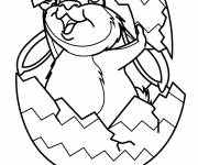 Coloring pages Rabbit covered by Easter egg