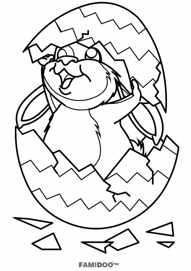 Free coloring and drawings Rabbit covered by Easter egg Coloring page
