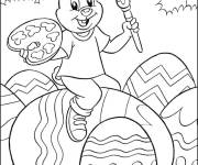 Coloring pages Rabbit decorates Easter eggs