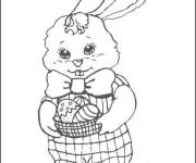 Coloring pages Rabbit with basket of Easter egg in her hands