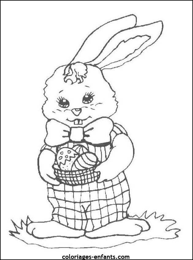 Free coloring and drawings Rabbit with basket of Easter egg in her hands Coloring page