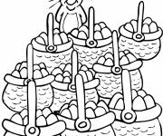 Coloring pages Rabbit with baskets full of eggs