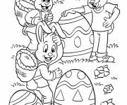 Coloring pages Rabbits collect Easter eggs