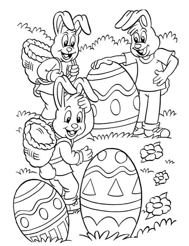 Free coloring and drawings Rabbits collect Easter eggs Coloring page
