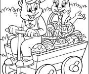 Coloring pages Rabbits deliver Easter eggs