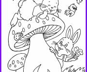 Coloring pages Rabbits have fun outdoors