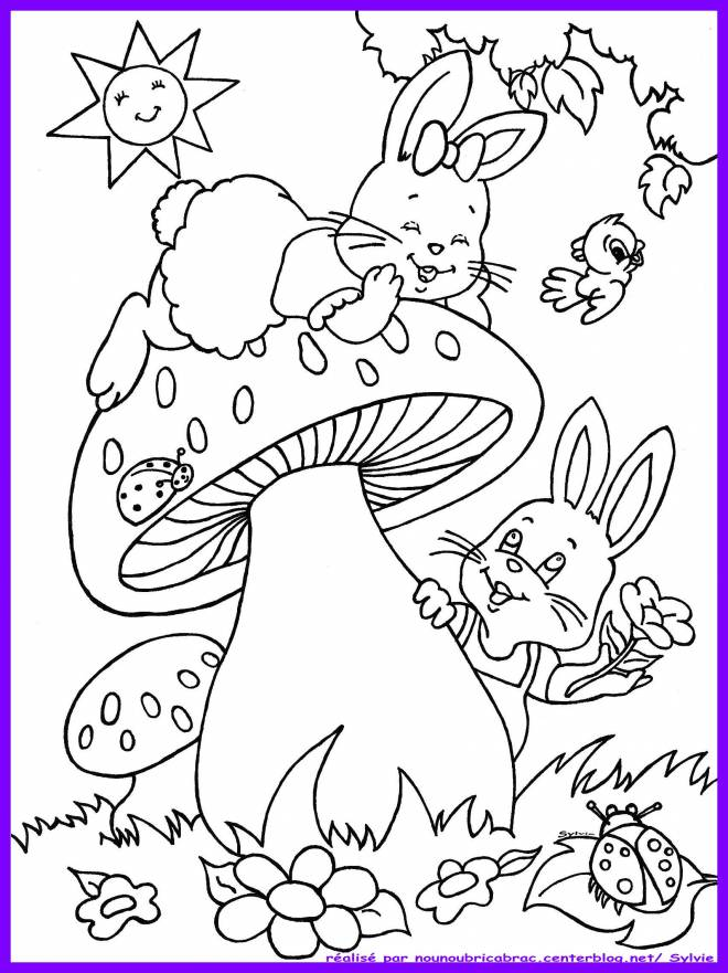 Free coloring and drawings Rabbits have fun outdoors Coloring page