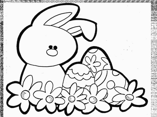 Free coloring and drawings Vector Easter Egg and Rabbit Coloring page