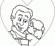 Coloring pages A daughter hugs her father