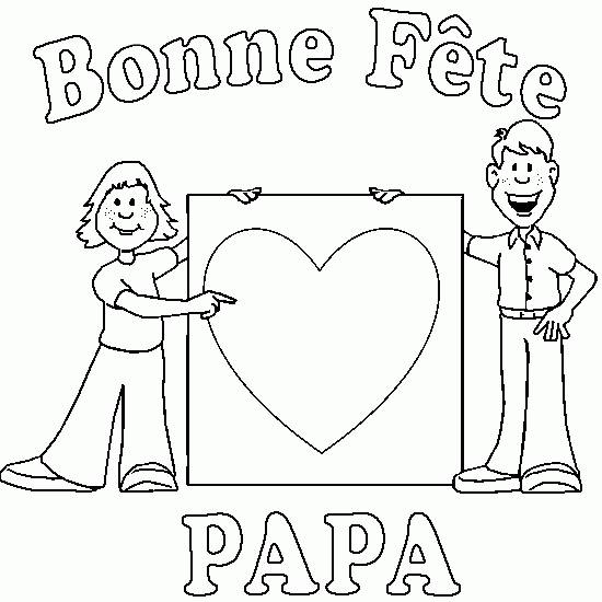 Free coloring and drawings Dad and son and Father's  Day Coloring page