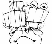Free coloring and drawings Dad receives gifts for his birthday Coloring page
