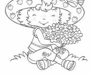 Coloring pages Daughter collects flowers for Dad