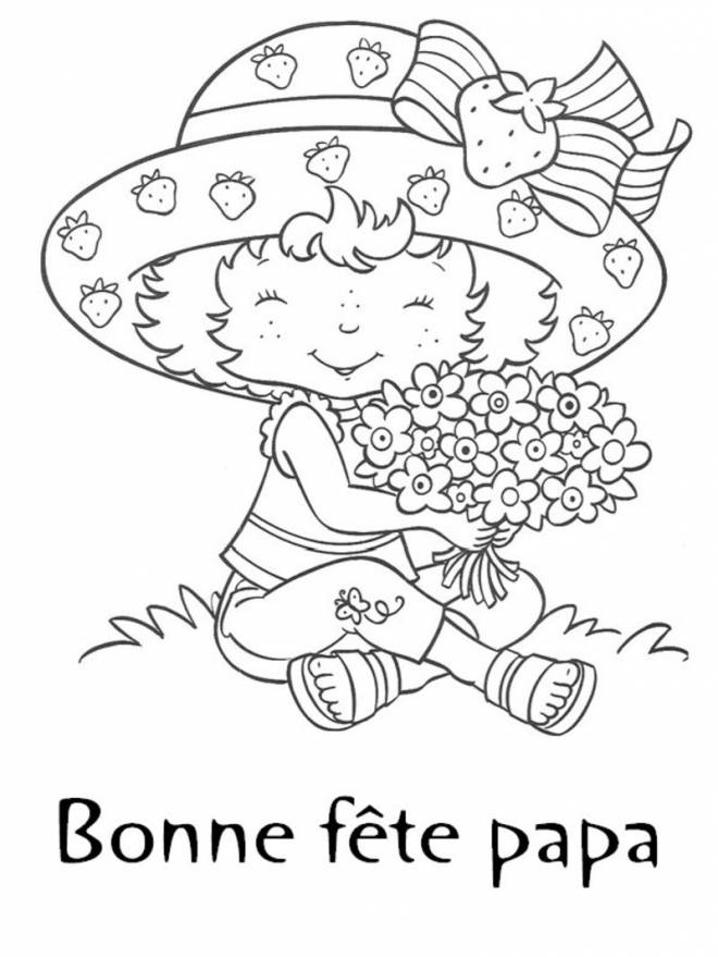 Free coloring and drawings Daughter collects flowers for Dad Coloring page