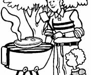 Coloring pages Father and son in the garden