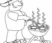 Coloring pages Father's  Day barbecue
