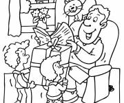 Coloring pages Good surprise for Father's birthday