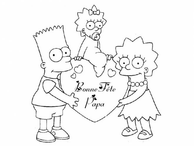 Free coloring and drawings Happy Father's Day Simpsons Coloring page