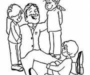 Coloring pages The Father between his young