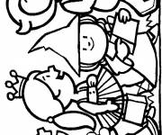 Free coloring and drawings Children dressed up for Halloween Coloring page