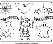 Free coloring and drawings Easy Halloween Characters Coloring page
